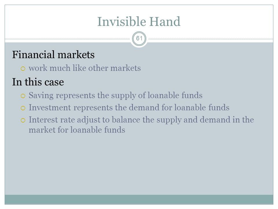 Invisible Hand Financial markets In this case