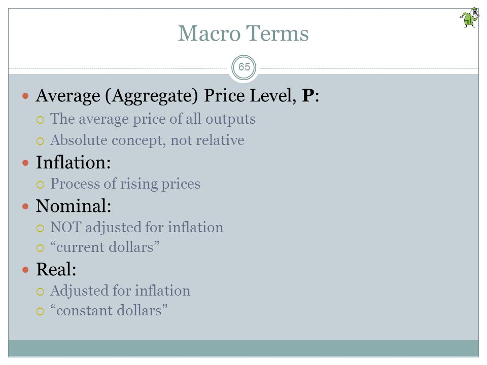 Macro Terms Average (Aggregate) Price Level, P: Inflation: Nominal: