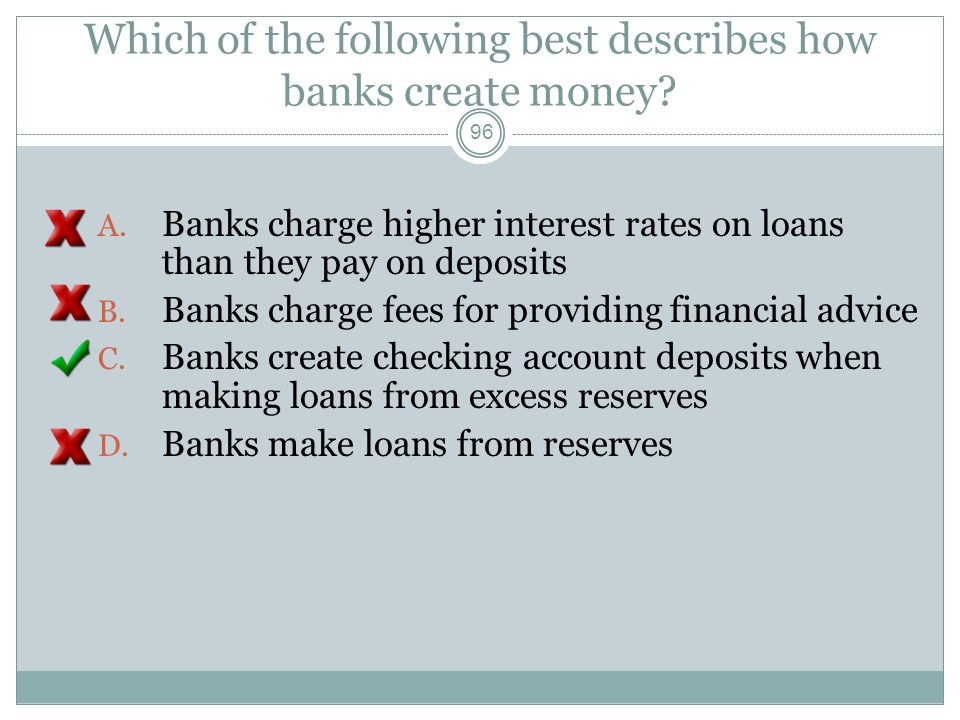 Which of the following best describes how banks create money
