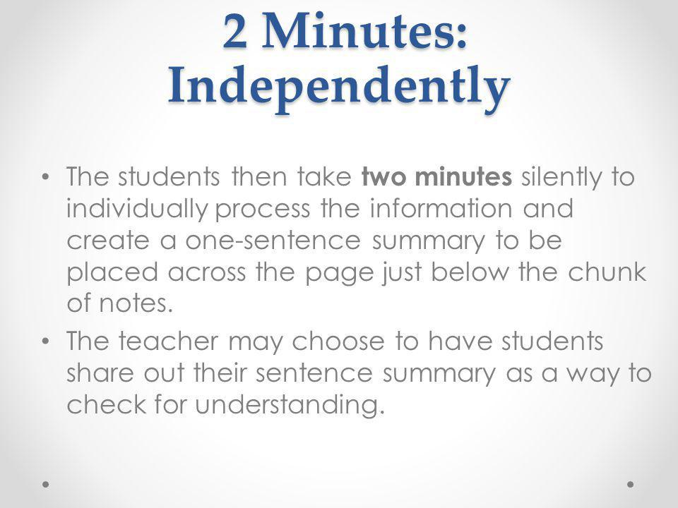 2 Minutes: Independently