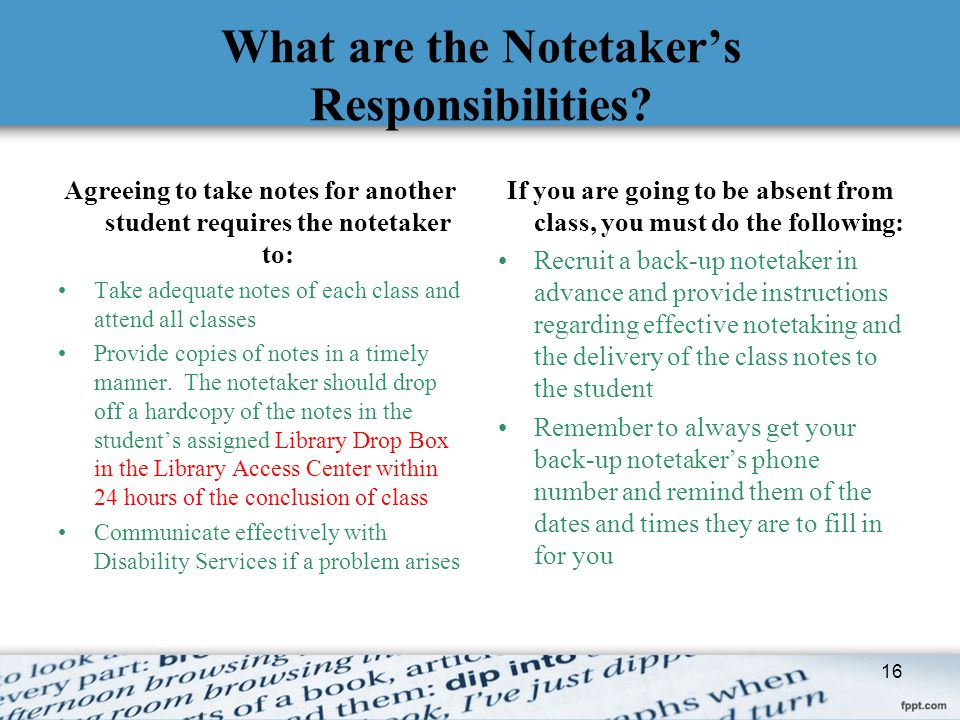 What are the Notetaker's Responsibilities