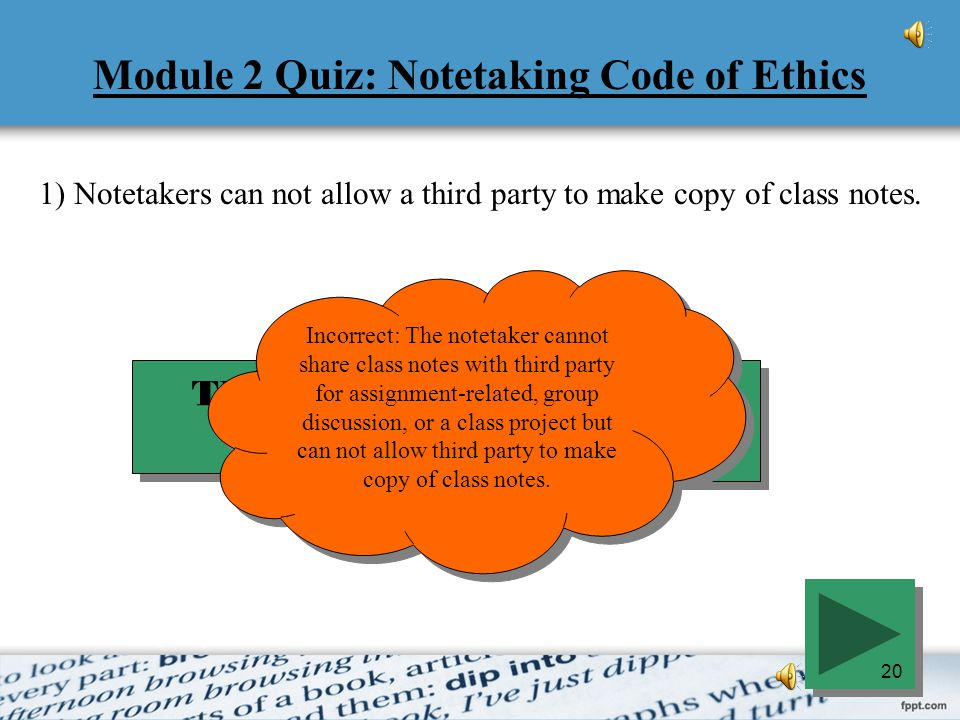 Module 2 Quiz: Notetaking Code of Ethics