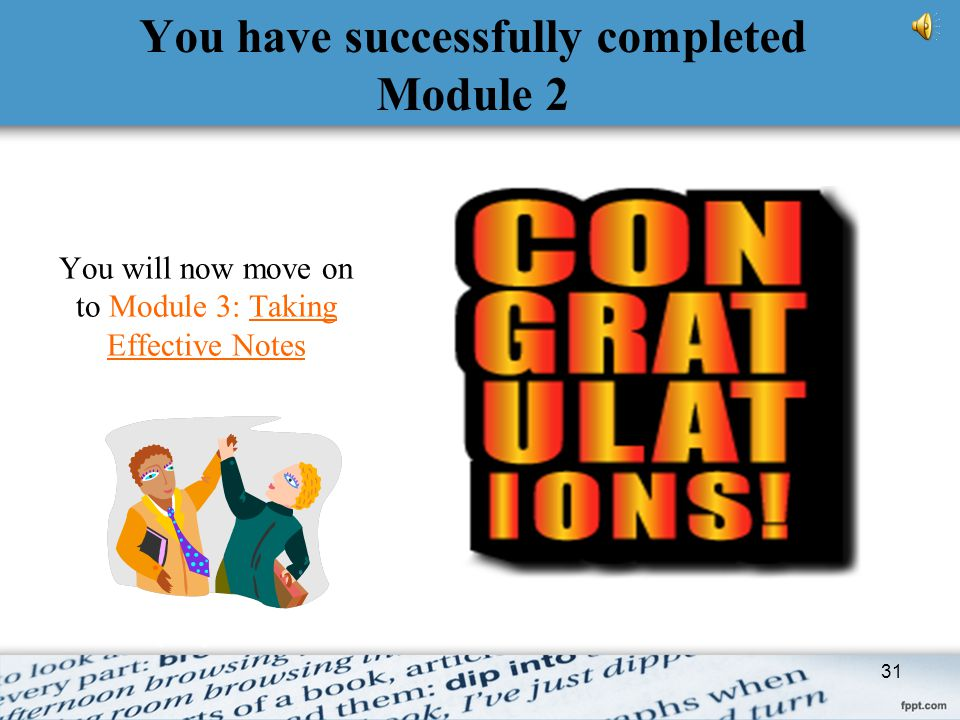 You have successfully completed Module 2