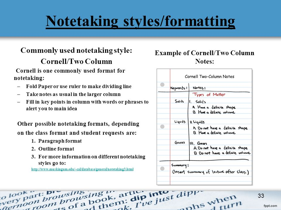 Notetaking styles/formatting