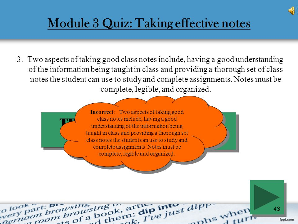 Module 3 Quiz: Taking effective notes