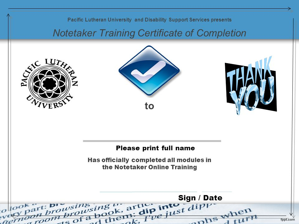 Notetaker Training Certificate of Completion