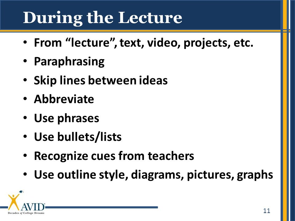 During the Lecture From lecture , text, video, projects, etc.