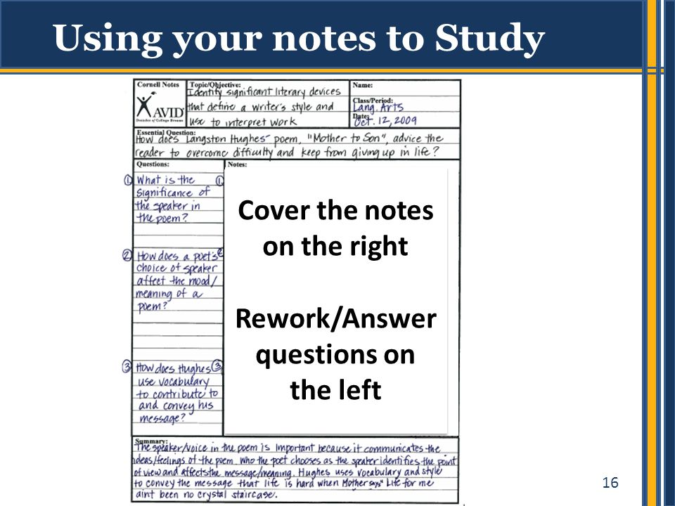 Cover the notes on the right Rework/Answer questions on the left