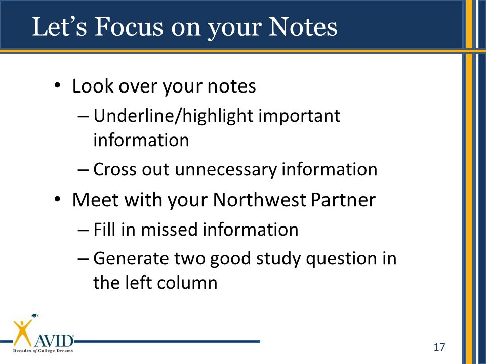 Let's Focus on your Notes
