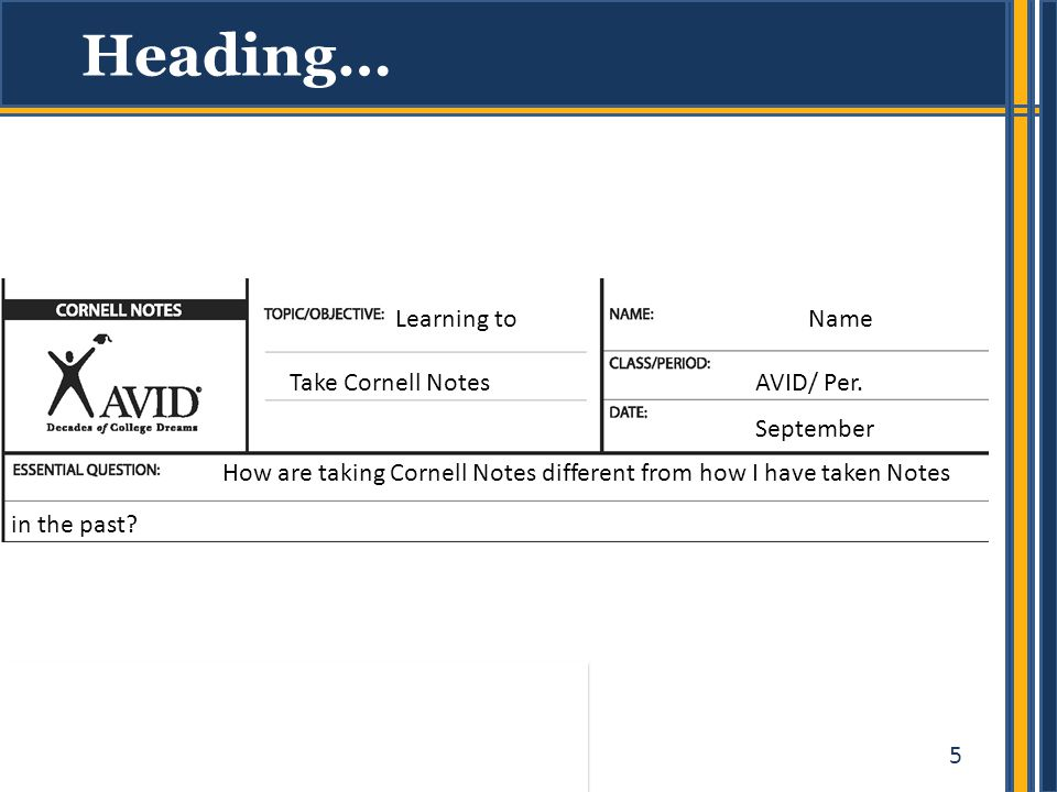 Heading… Learning to Take Cornell Notes Name AVID/ Per. September
