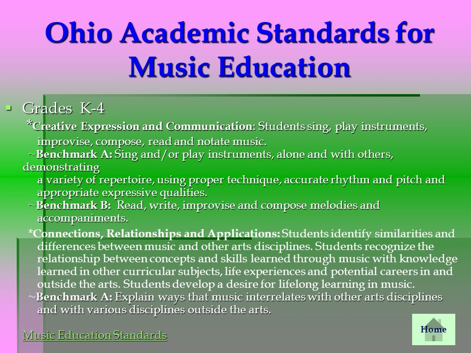 Ohio Academic Standards for Music Education