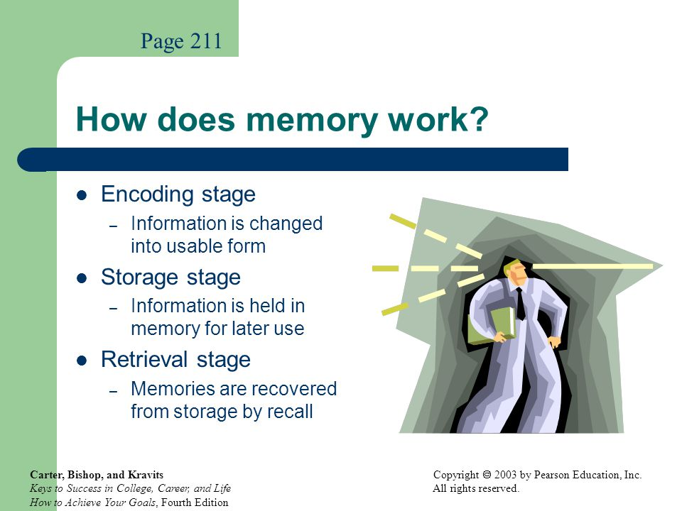 How does memory work Page 211 Encoding stage Storage stage