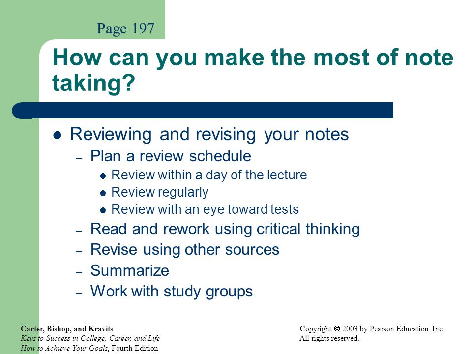 How can you make the most of note taking