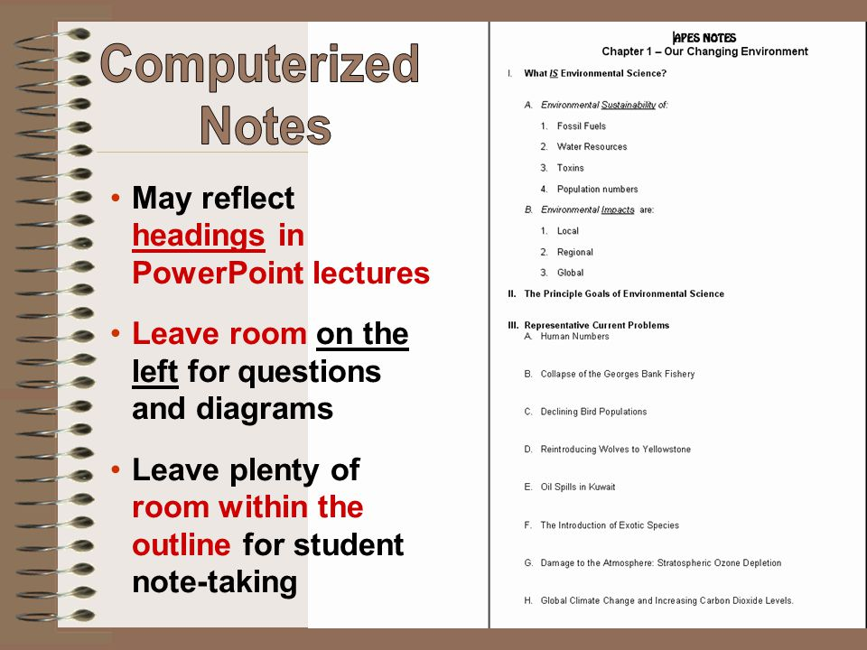 Computerized Notes May reflect headings in PowerPoint lectures