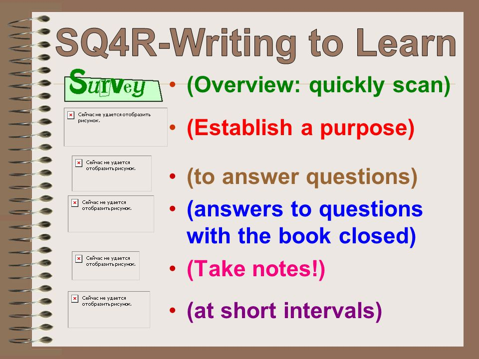 SQ4R-Writing to Learn (Overview: quickly scan) (Establish a purpose)