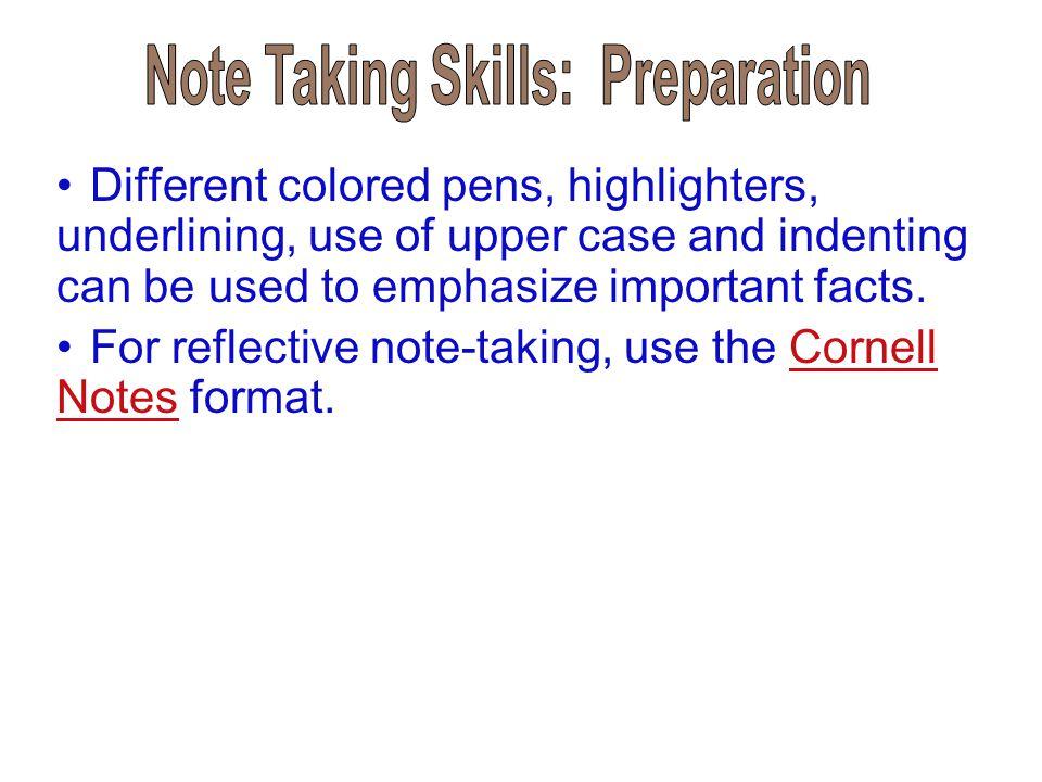 Note Taking Skills: Preparation