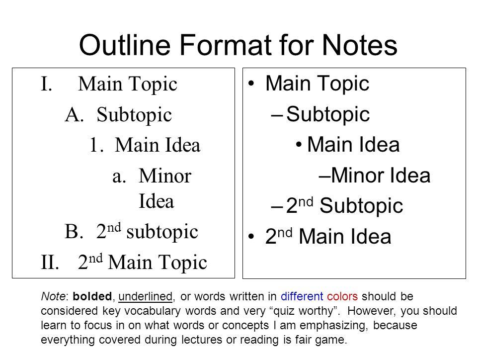 Outline Format for Notes