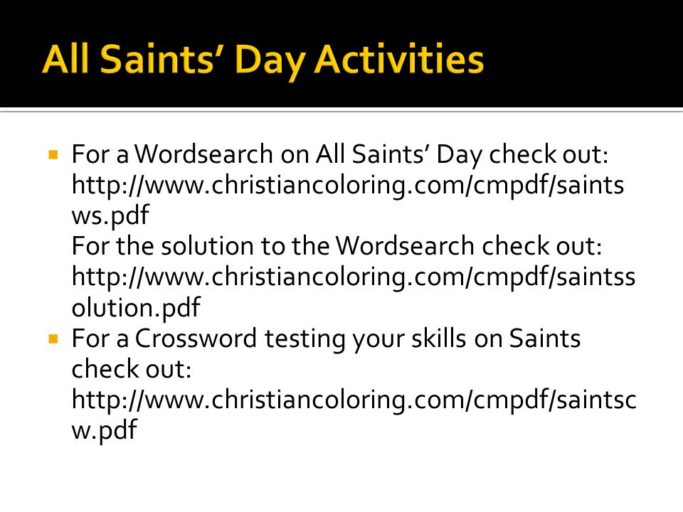 All Saints' Day Activities