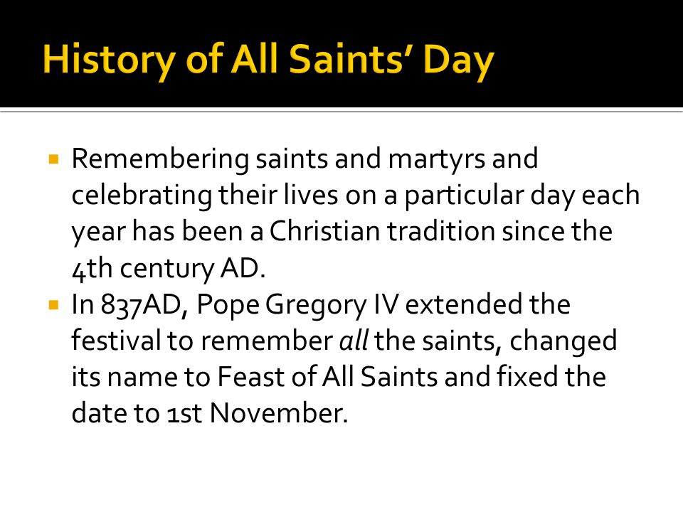 History of All Saints' Day