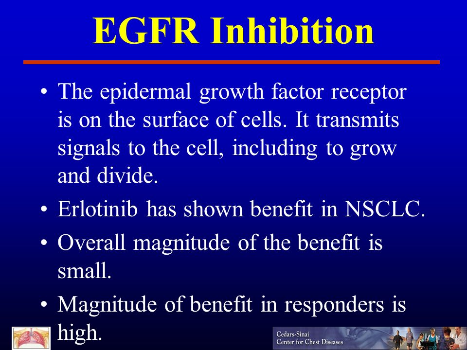 EGFR Inhibition The epidermal growth factor receptor is on the surface of cells. It transmits signals to the cell, including to grow and divide.