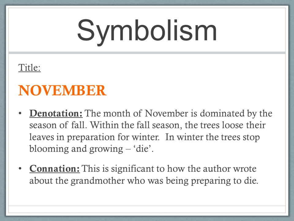 Symbolism NOVEMBER Title: