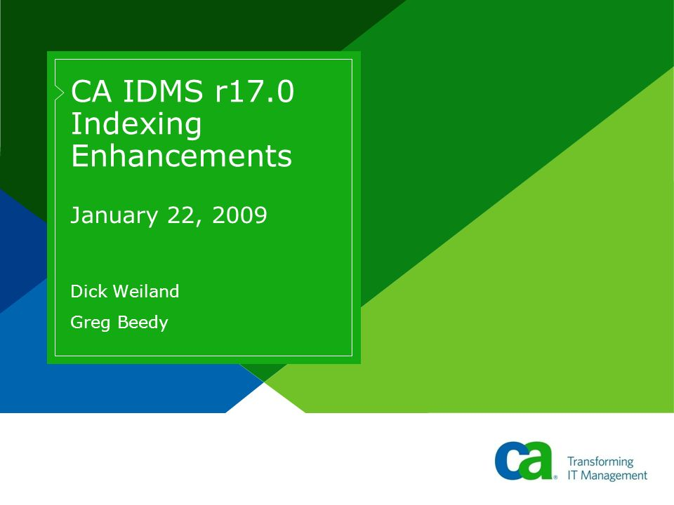CA IDMS r17.0 Indexing Enhancements