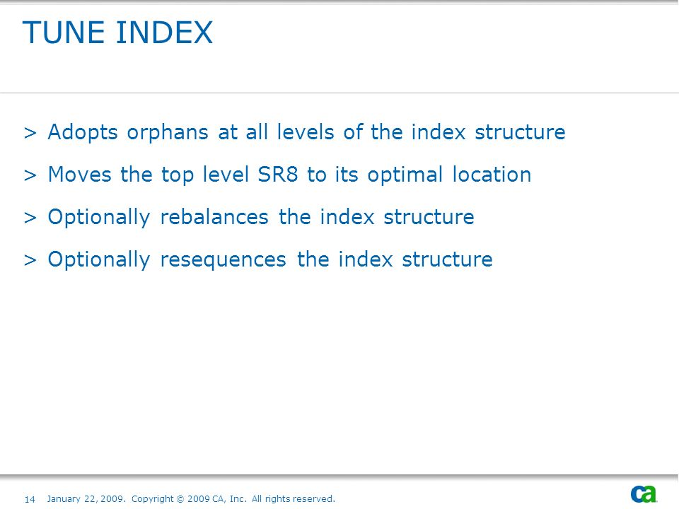 TUNE INDEX Adopts orphans at all levels of the index structure