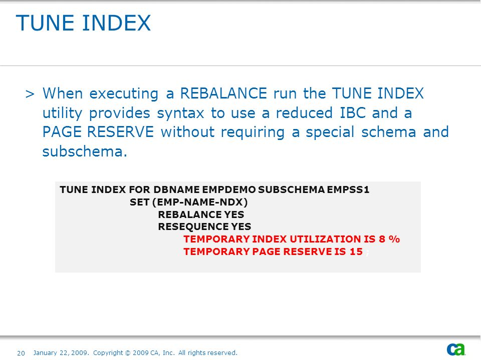 TUNE INDEX