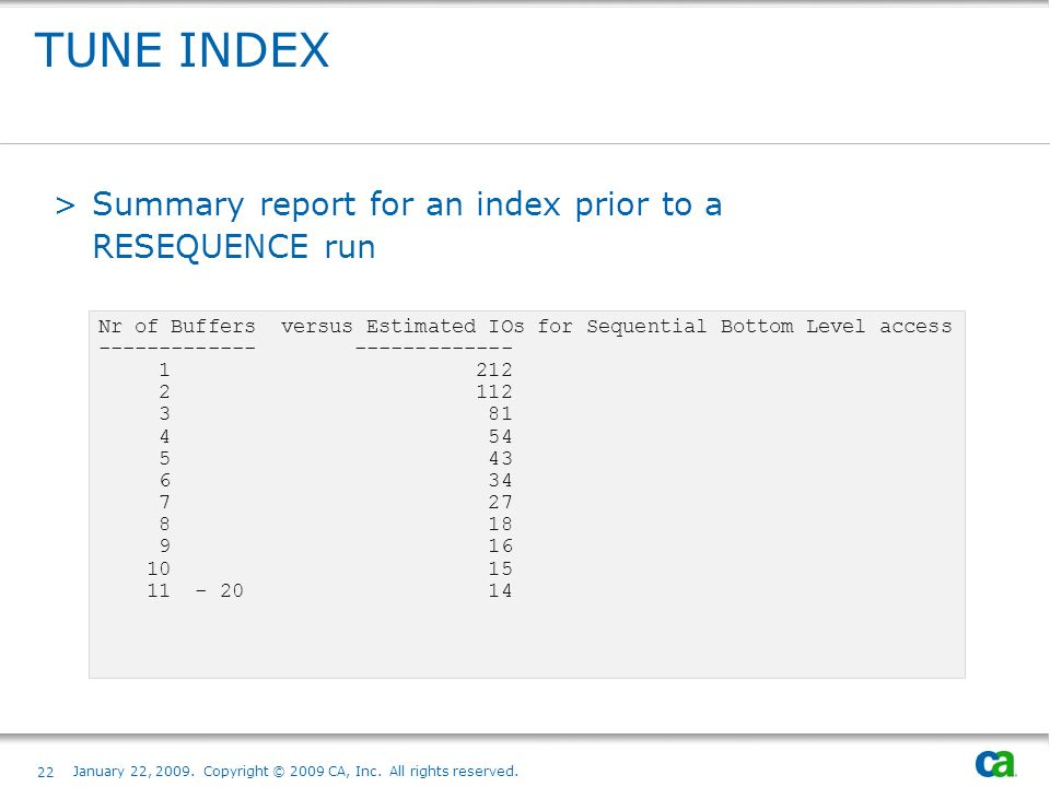 TUNE INDEX Summary report for an index prior to a RESEQUENCE run