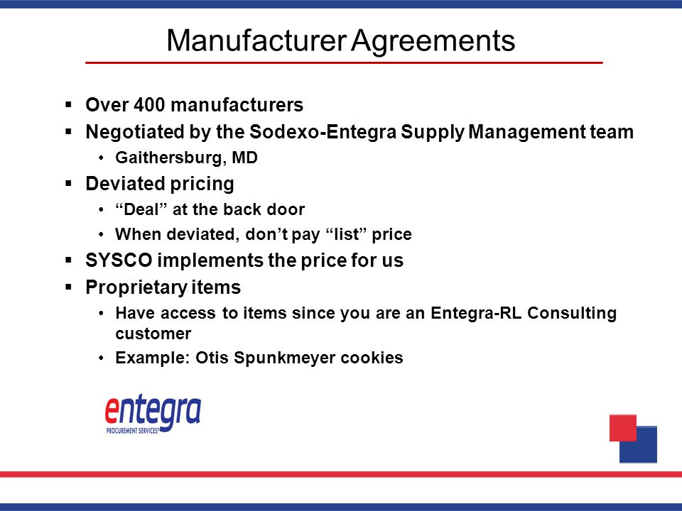 Manufacturer Agreements