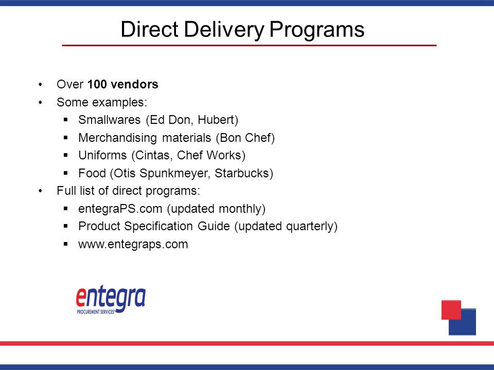 Direct Delivery Programs