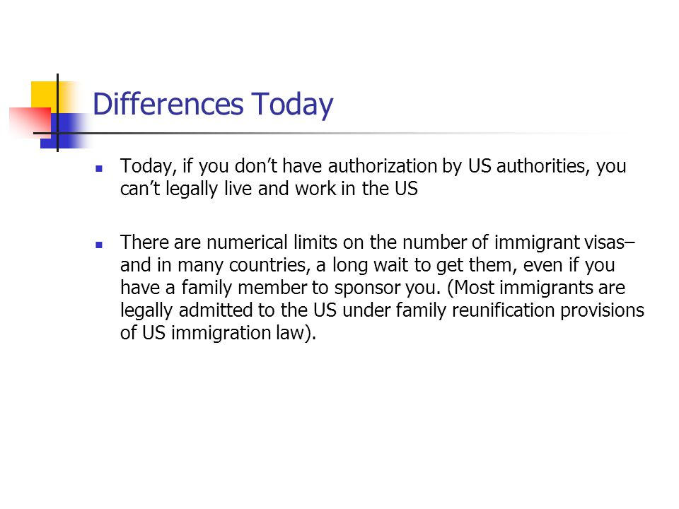 Differences Today Today, if you don't have authorization by US authorities, you can't legally live and work in the US.