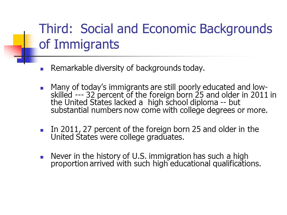 Third: Social and Economic Backgrounds of Immigrants