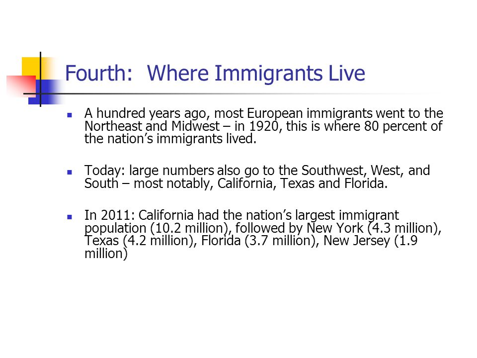 Fourth: Where Immigrants Live