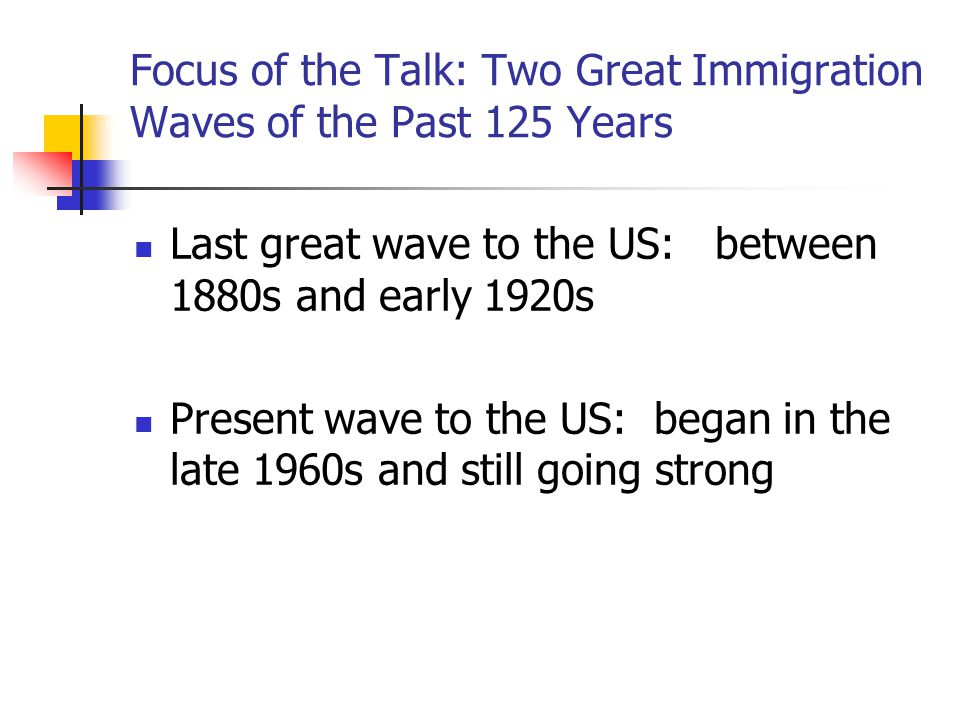 Focus of the Talk: Two Great Immigration Waves of the Past 125 Years