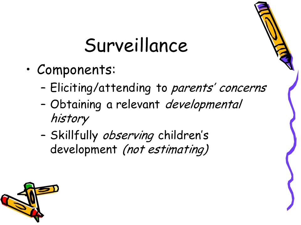 Surveillance Components: Eliciting/attending to parents' concerns