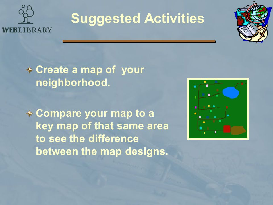 Suggested Activities Create a map of your neighborhood.