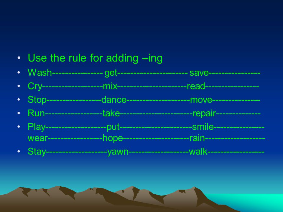 Use the rule for adding –ing