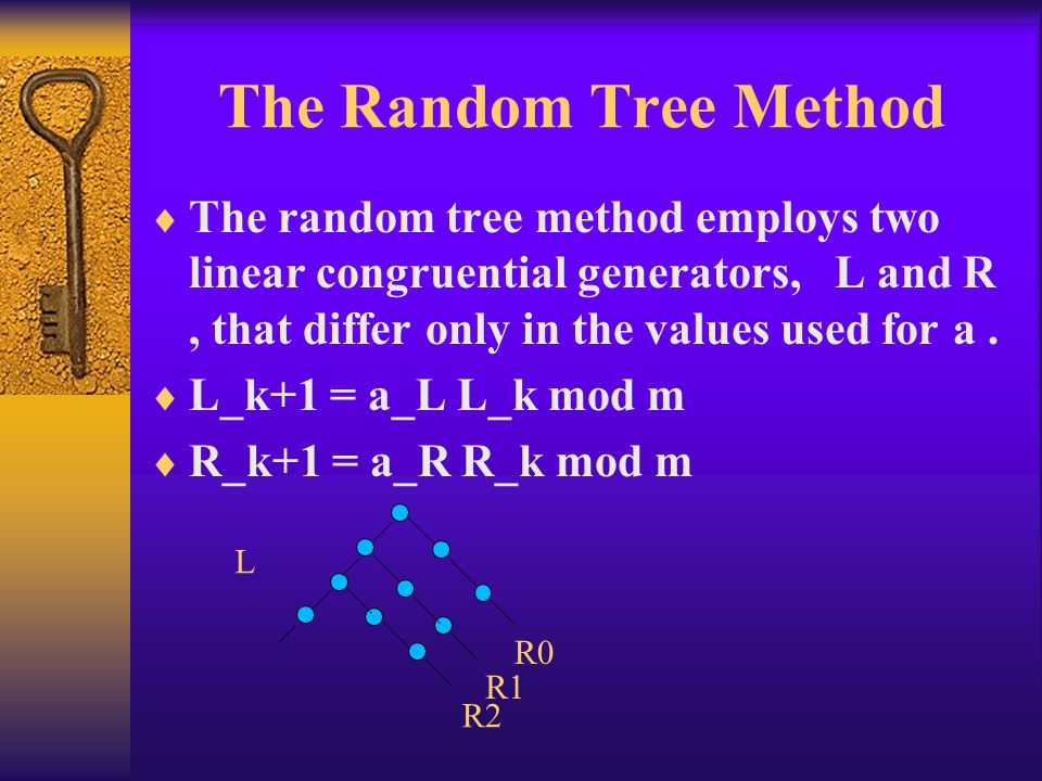 The Random Tree Method The random tree method employs two linear congruential generators, L and R , that differ only in the values used for a .
