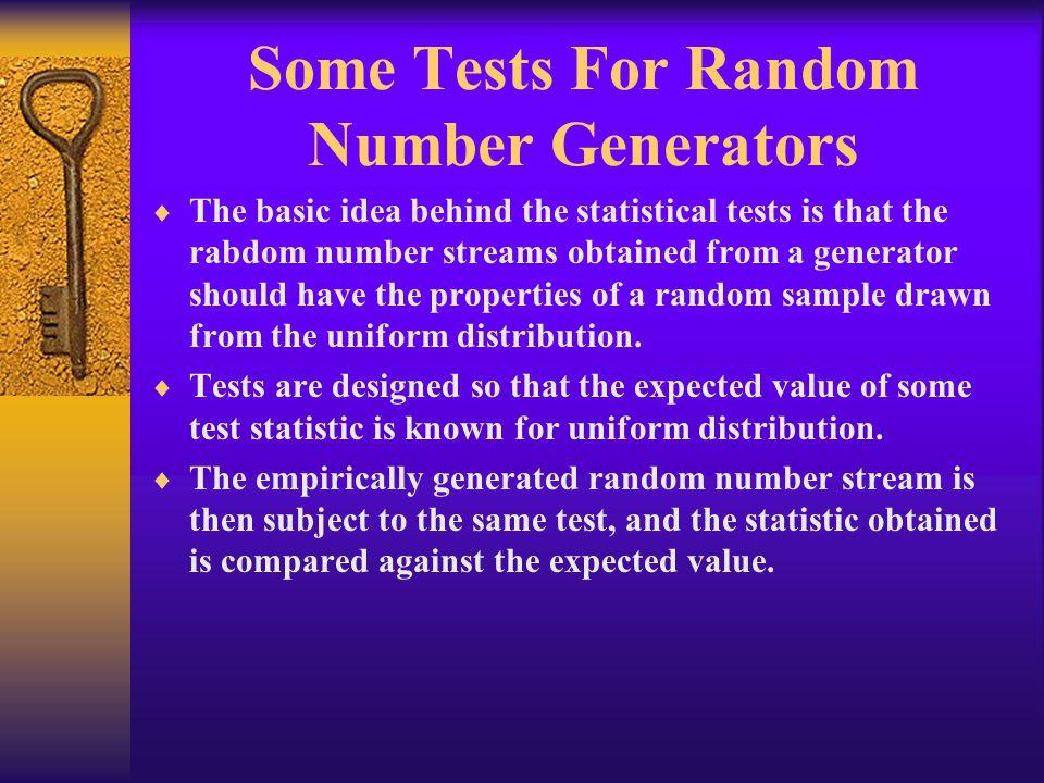 Some Tests For Random Number Generators