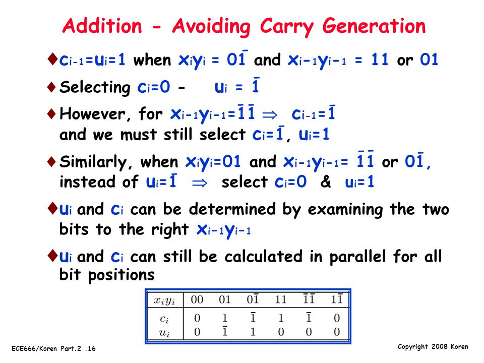Addition - Avoiding Carry Generation