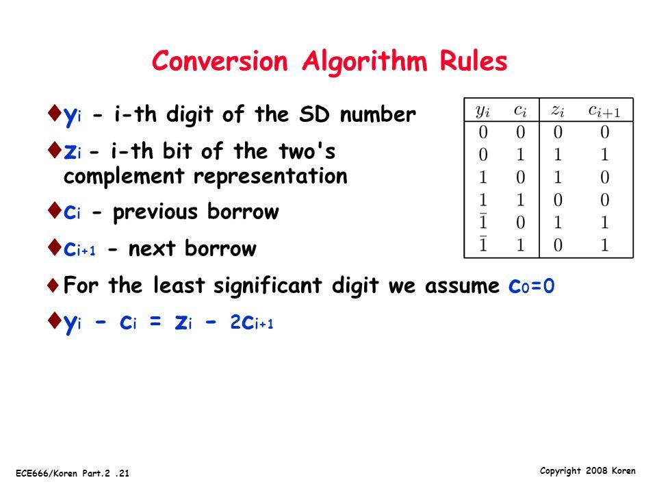 Conversion Algorithm Rules