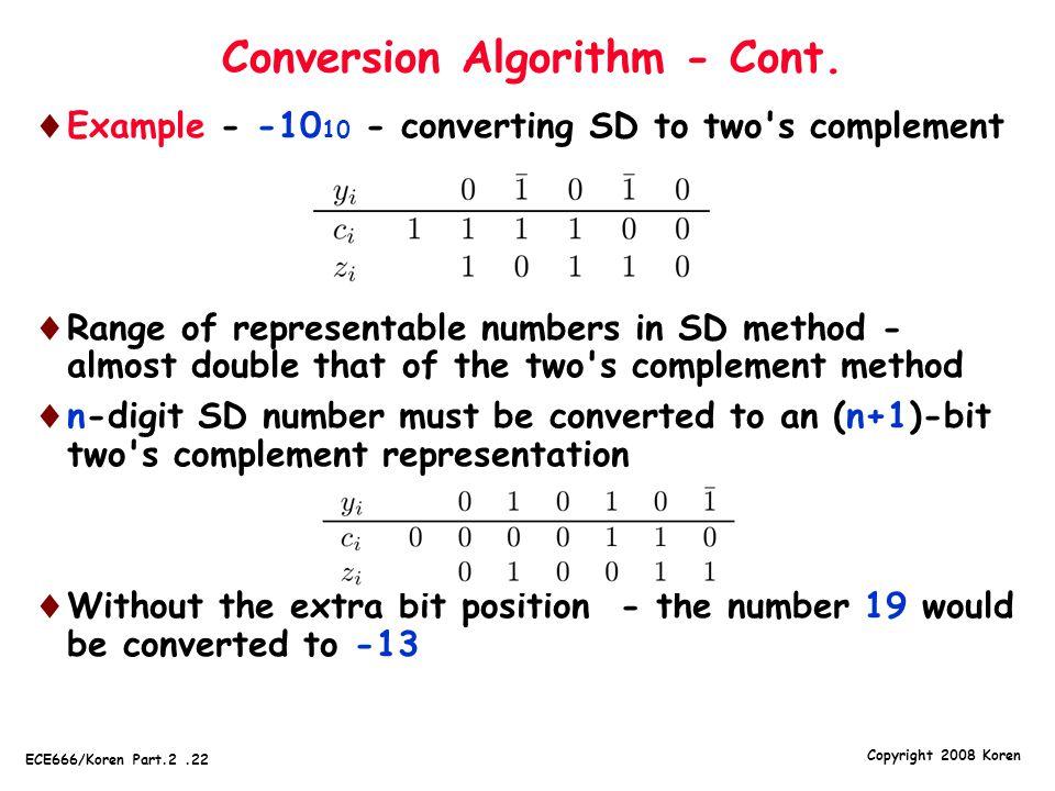 Conversion Algorithm - Cont.