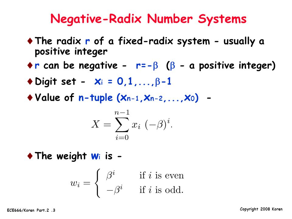 Negative-Radix Number Systems