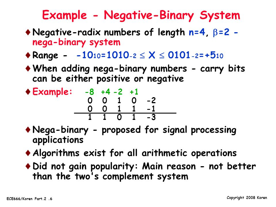 Example - Negative-Binary System
