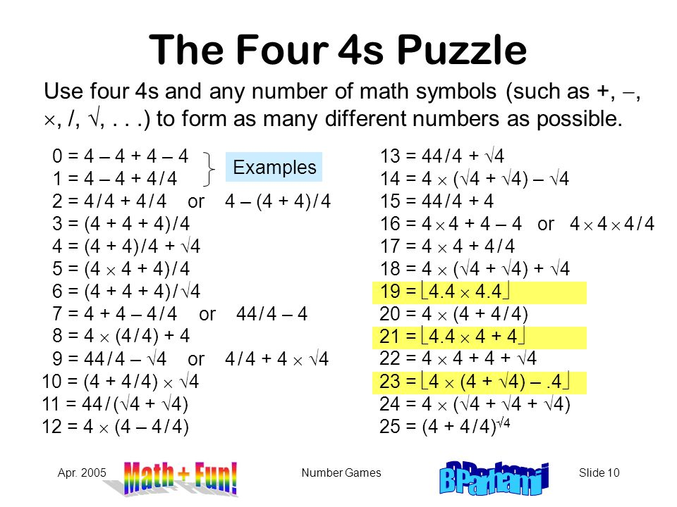 The Four 4s Puzzle Use four 4s and any number of math symbols (such as +, -, , /, , . . .) to form as many different numbers as possible.
