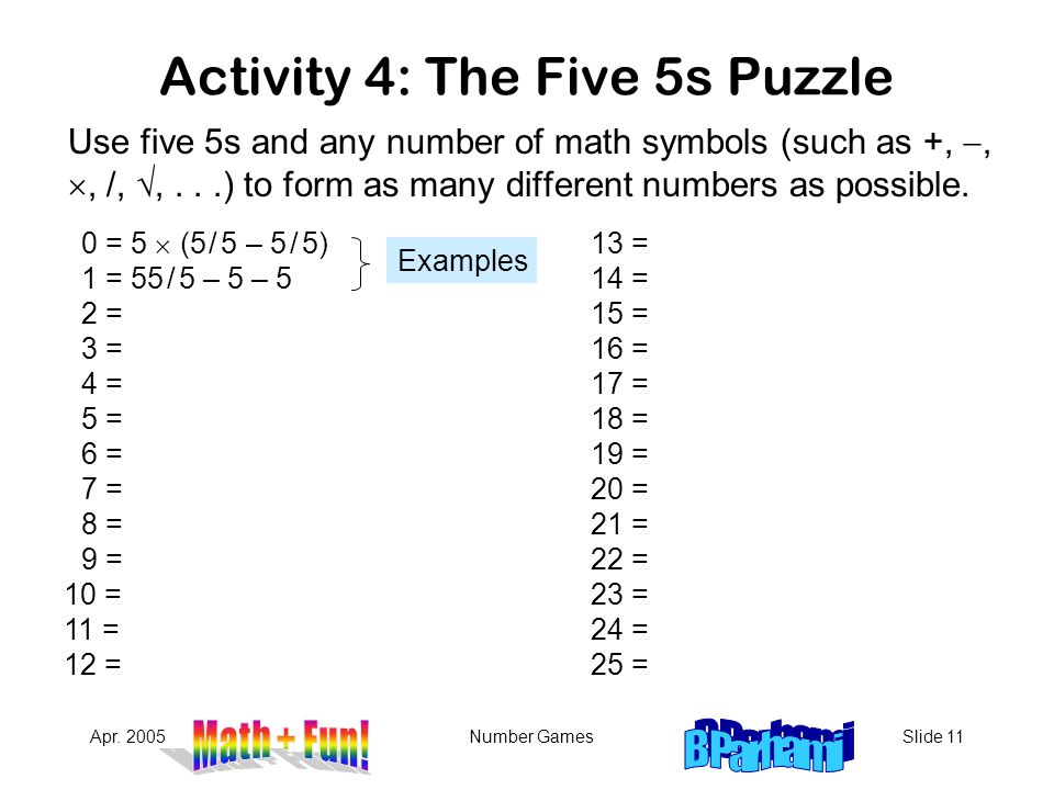 Activity 4: The Five 5s Puzzle