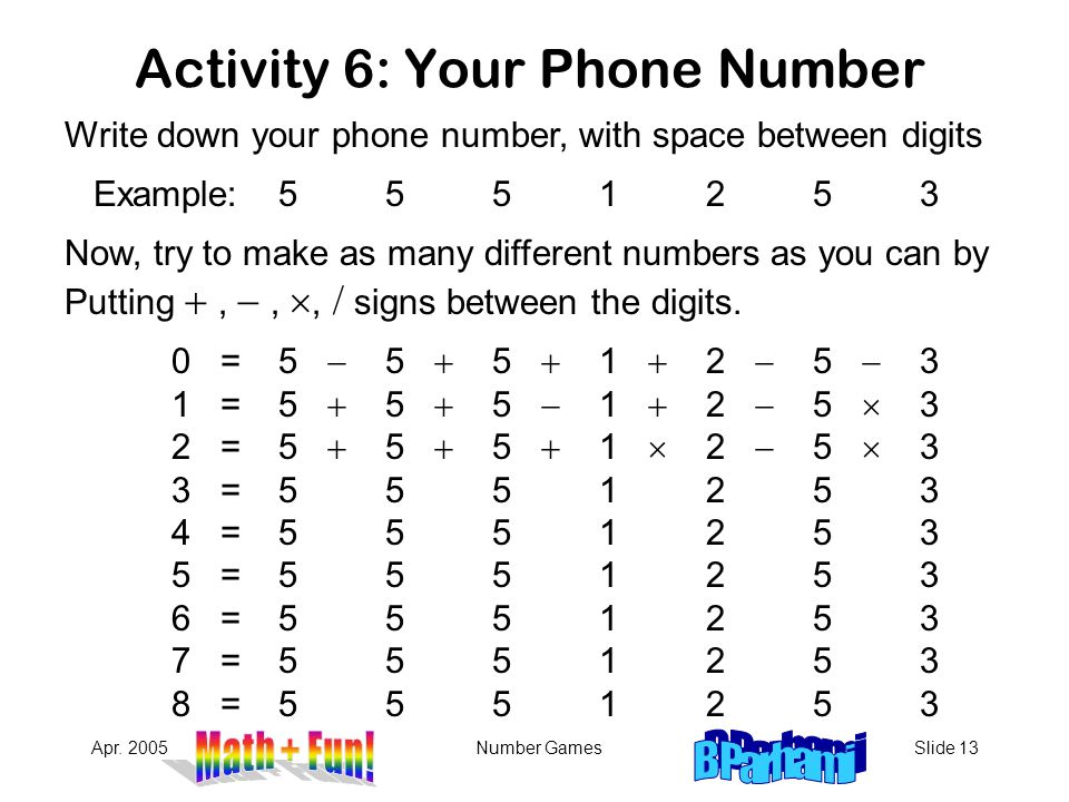 Activity 6: Your Phone Number