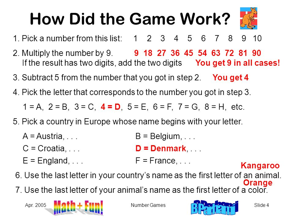 How Did the Game Work 1. Pick a number from this list: 1 2 3 4 5 6 7 8 9 10.