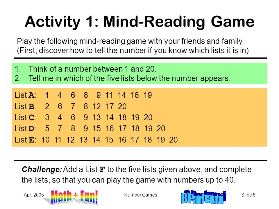 Activity 1: Mind-Reading Game
